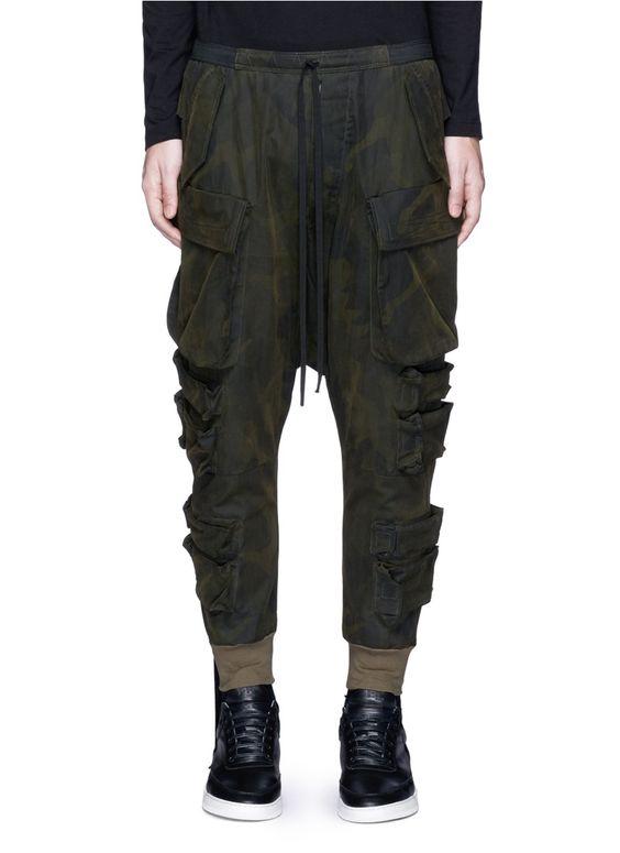 UNRAVEL Camouflage print drop crotch cargo pants. #unravel #cloth #pants