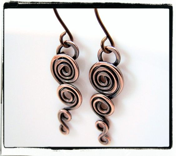Copper Niobium Freeform Dangle Spiral Earrings.  Beautiful