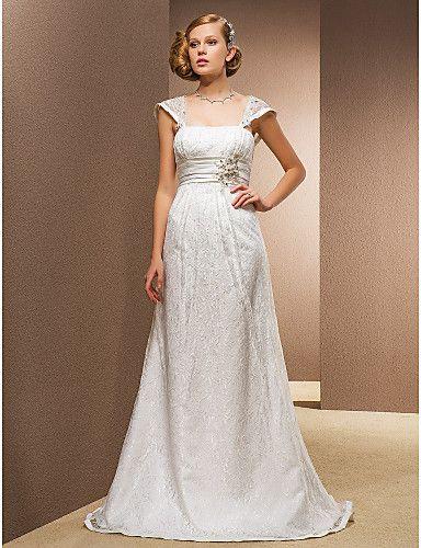 A-line Princess Square Floor-length Wedding Dress With Removable Straps - USD $ 299.99