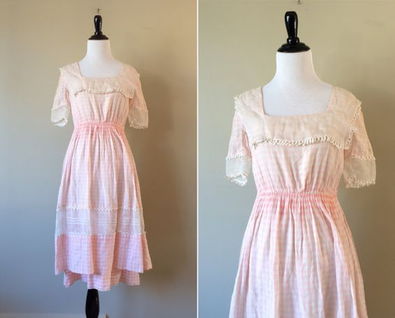edwardian dress / antique pink ginham day dress / by archiverie