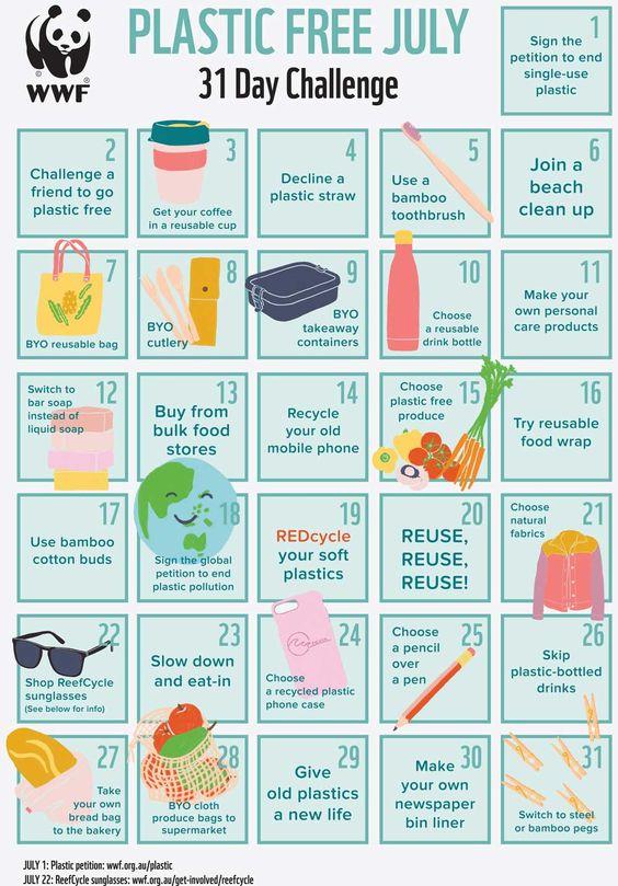 Take the Plastic Free July Challenge - FREE Calendar – WWF-Australia - WWF-Australia