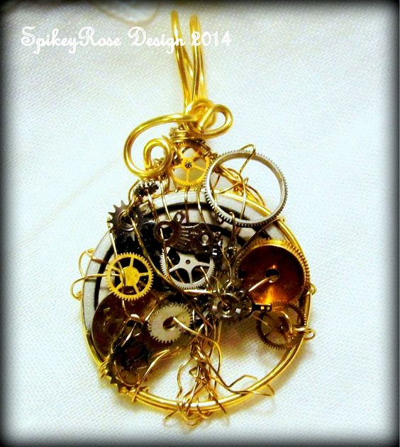 Wirework Tree of Life in goldplate and silverplate non-tarnish wires with brass and silver metal clock bits.