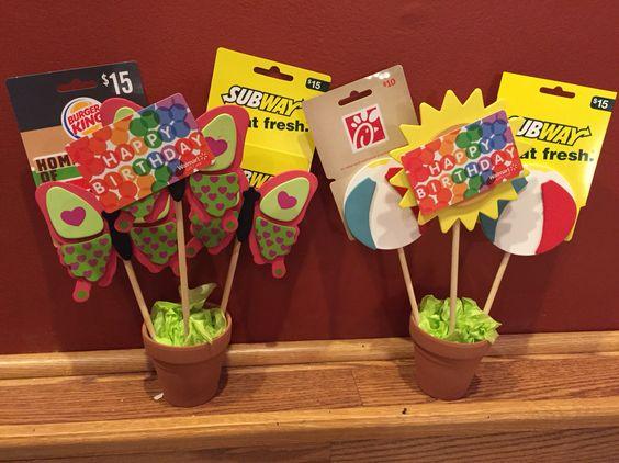 Gift card bouquet idea