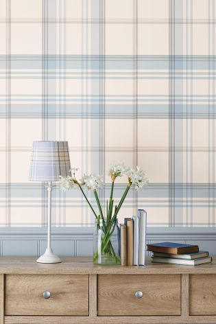 Powder Blue Check Wallpaper at Next: