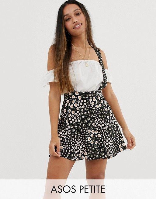 ASOS DESIGN Petite exclusive pinafore mini skirt in mixed floral print | ASOS