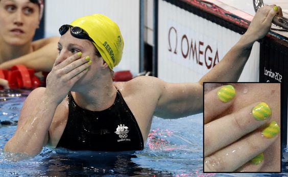 Even Women of Olympic Swimming are sporting their nail art in the 2012 London Games. #EmilySeebohm, Australia. - DIY nail art designs.
