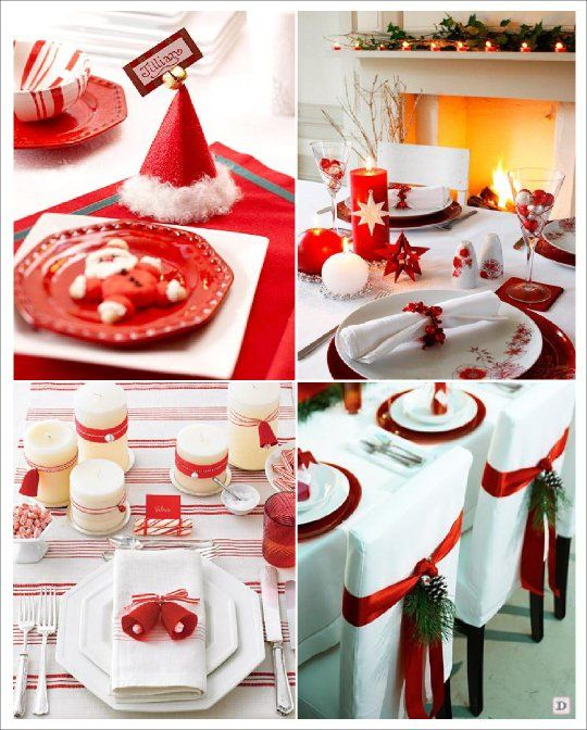 Le sapin blanc et or centre de table rouge no l no l et for Idee deco table noel