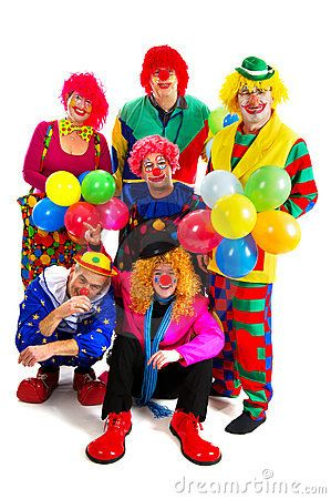 Happy clowns are having a celebration with balloons
