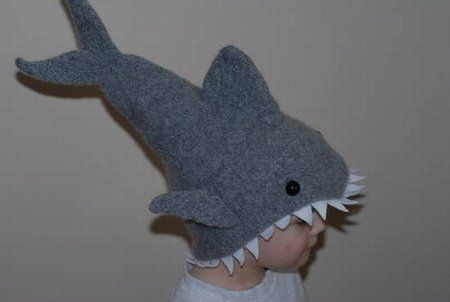 Knitted hat in the shape of a shark.