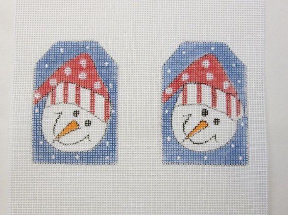 995 set of 2 santa snowmen christmas handpainted needlepoint canvas - Santa Snowman 2