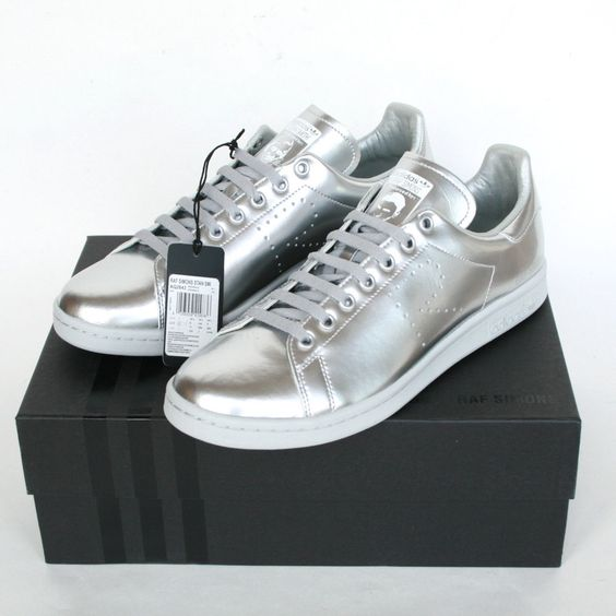 RAF SIMONS x ADIDAS $500 stan smith sneakers silver trainers shoes 11-US NEW…