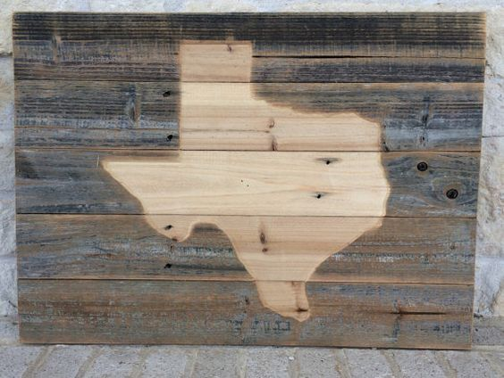 Rustic Reclaimed Wood Etched Texas State 28 x 20 x by ShopAtBear