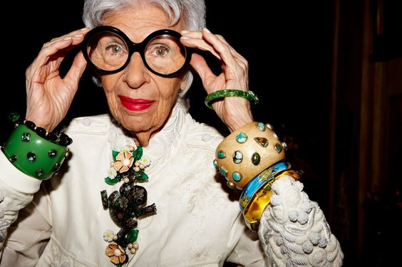 Iris Apfel, world-renowned for her eccentric sense of style. She has been called a fashion legend, a style maverick, a rara avis. The nonagenarian has developed a large following of young people attracted to her unique blend of aesthetic brilliance and self-assurance.