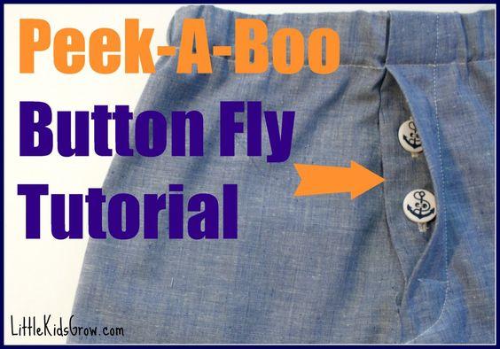 Peek-A-Boo (Hidden) Button Fly Tutorial    LittleKidsGrow