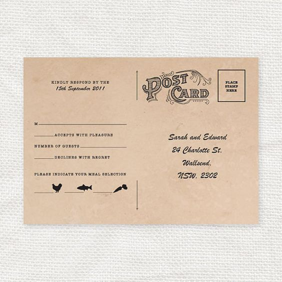 vintage rsvp wedding invite postcard | Invites | Pinterest | The ...