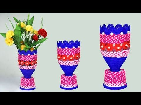 Plastic Bottle Vase Idea1 Crafts Wool Crafts Art And Craft Videos