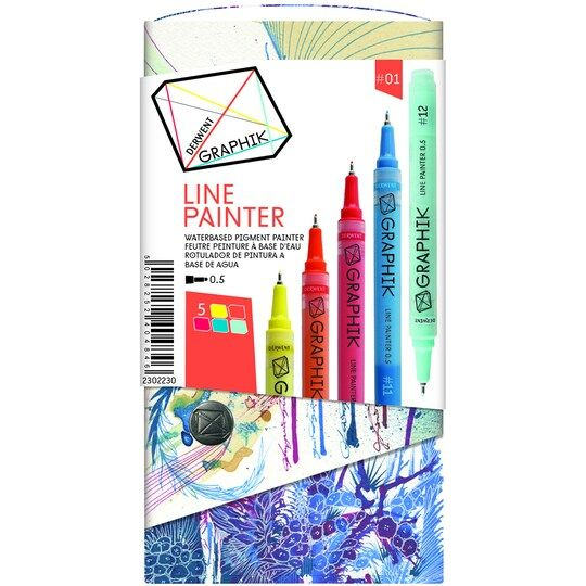 Derwent Graphik Line Painter Marker 5 Color Set 1 Paint
