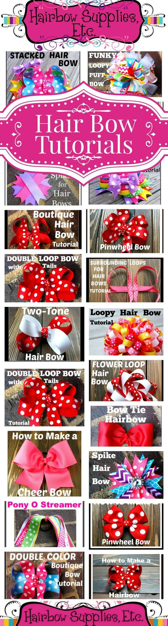 Instructions and videos for how to make all sorts of different hairbows