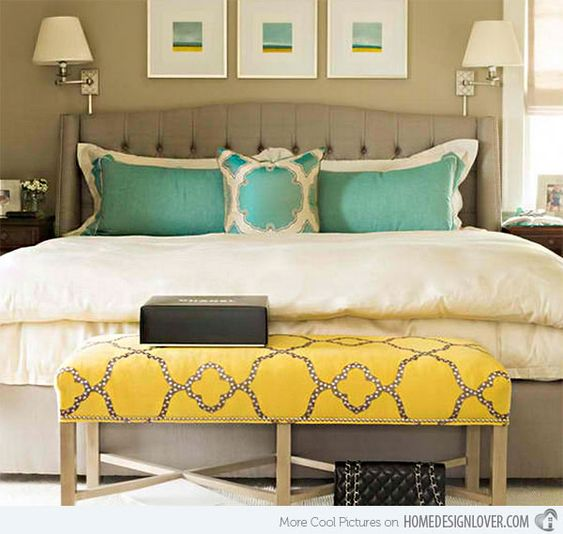 Gorgeous Gray And White Bedrooms: 15 Gorgeous Grey, Turquoise And Yellow Bedroom Designs