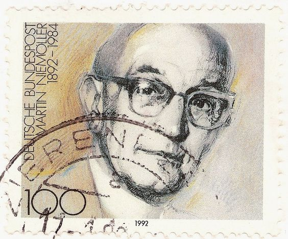 Martin Niemoller on a postage stamp, painted by Gerd Aretz in 1992 - Wikipedia