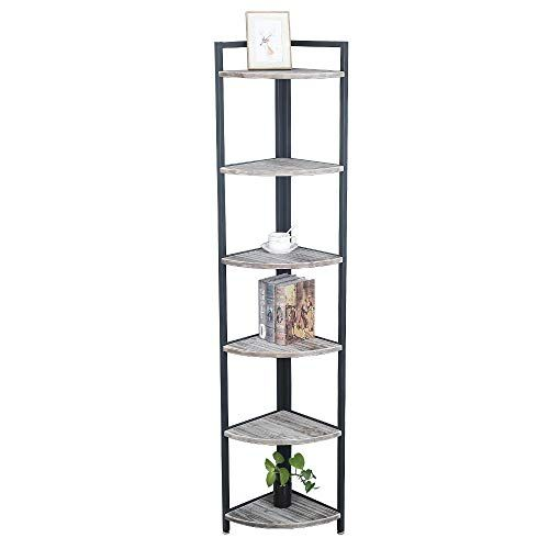 Industrial Wood Corner Shelf 6 Tier Corner Bookcases And Book Shelves 6 Shelf Vintage Display Corner Storage Wood Corner Shelves Corner Bookcase Corner Storage