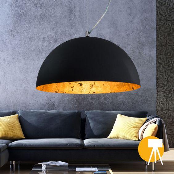 Hänge lampe Studio  Pendel leuchte Rund  Schwarz/Gold  Hänge leuchte Industrie
