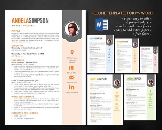 Stylish Word Photo Resume Templates By Inkpower On @mywpthemes_xyz   Resume  Words For Sales