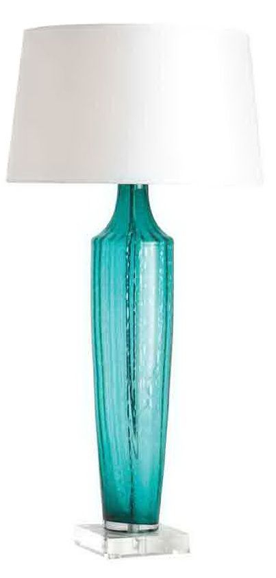 instyle designer aqua blue art glass table lamp