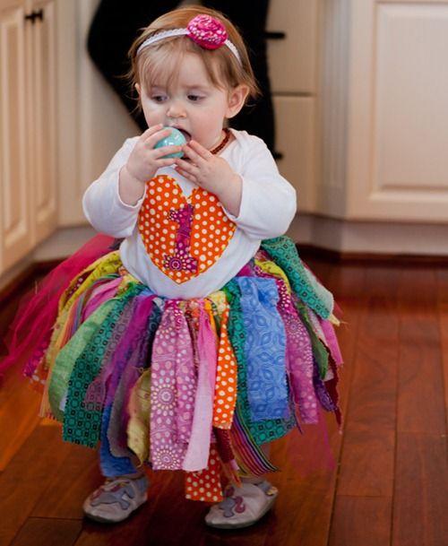 No-sew DIY Rainbow 1st Birthday Outfit: Fabric Scrap Tutu