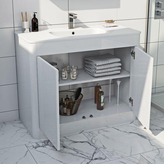 Mode Carter White Floorstanding Vanity Unit And Ceramic Basin 1000mm Vanity Units White Vanity Unit Bathroom Vanity Units
