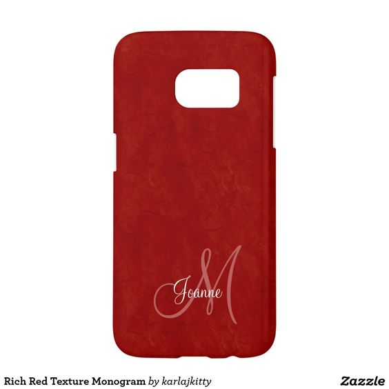 Rich Red Texture Monogram Samsung Galaxy S7 Case