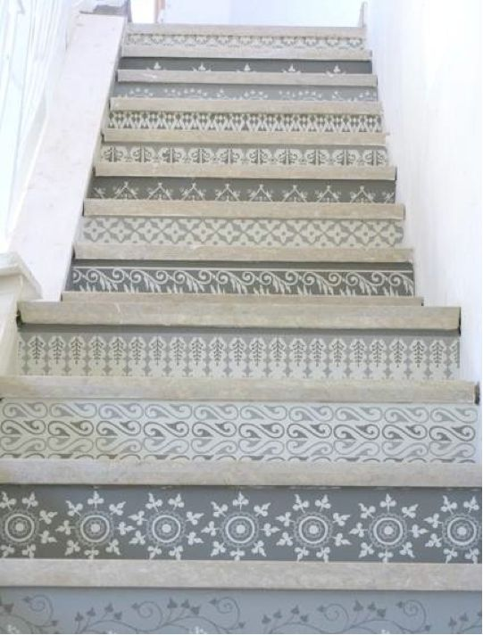 just love these stairs especially the painted patterns and shades of grey.