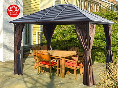 Caesar 10 X12 Hardtop Aluminum Permanent Gazebo With A M Https Smile Amazon Com Dp B078kcccg1 Ref Cm Sw R P Backyard Gazebo Patio Gazebo Permanent Gazebo