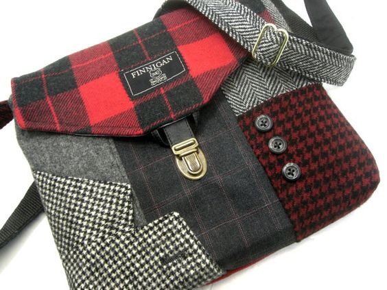 Crossbody Purse iPhone pocket Recycled mens suit by SewMuchStyle etsy. Love this one!: