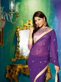 Purple Faux Georgette Designer Blouse Designer Saree