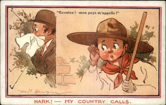 Fred Spurgin - Little Boy Scout Hears His Country Calling Propaganda Postcard:
