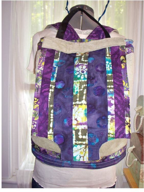 Light Sage Corduroy and Batik Patchwork Backpack by bluemermaid123, $56.00