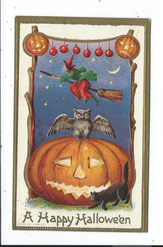 Vintage Halloween Postcard Post Card Black Cat Witch Owl Pumpkin # 14: