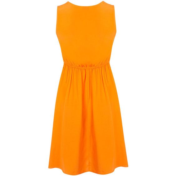 Miss Selfridge Petites Orange Tie Front Dress (16 CAD) ❤ liked on Polyvore featuring dresses, orange, petite, orange dress, miss selfridge, viscose dress, tie front dress and petite dresses