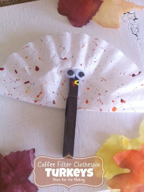 Teach Me Tuesday: Coffee Filter Clothespin Turkeys - Mine for the Making