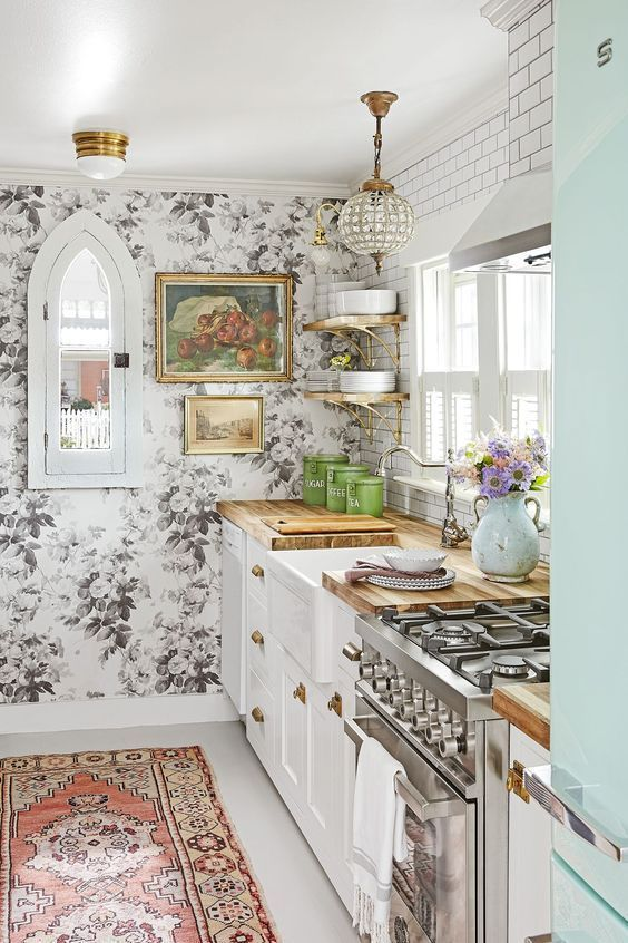 Colorful Farmhouse Kitchen Love The Wallpaper Accent Walls And