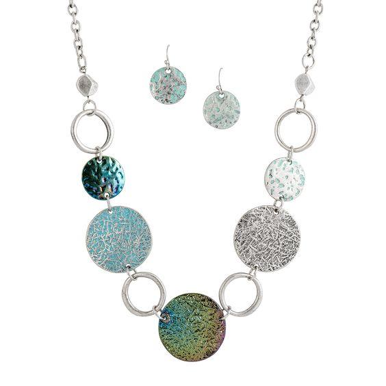 Rainbow Gradient & Pastel Silvertone Necklace & Earring Set
