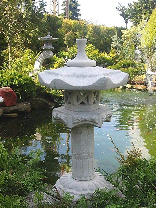 Gartendekoration Koiteich -Yukimi auf Säule HK Japanische Steinlaterne