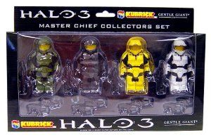 HALO 3 Kubricks MASTER CHIEF 4 Figure LEGO Boxed set - RARE! by Medicom & Gentle Giant. $89.95. 4 Master Chief Lego figures. 2 weapons per master chief - 8 Weapons in all. HALO 3 video game action figures !    Halo 3 - Kubricks Series 2 Collectors 4-pk ...4 MASTER CHIEFS!!  by MEDICOM (imported from Japan) -RARE!  Imported from Medicom in Japan, these adorable little block figures feature the likeness of the one and only Master Chief from Bungie's iconic Halo video ga...