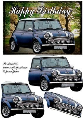 Old Style Mini card front on Craftsuprint designed by Jason Jones - Lovely classic mini set upon a great looking background. - Now available for download!