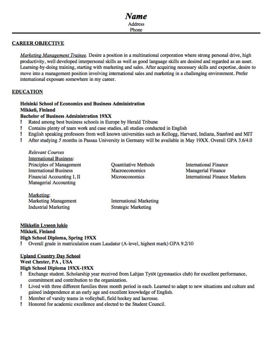 Sample Resume Marketing Management Trainee - http\/\/resumesdesign - marketing objectives resume
