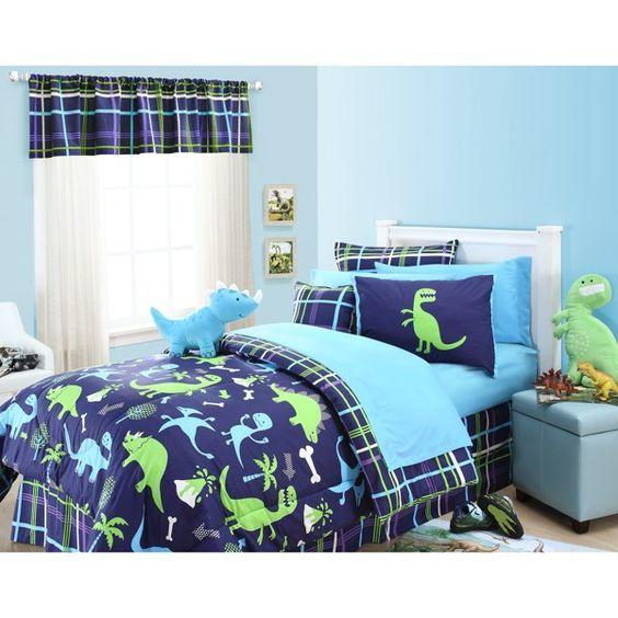 Dino comforter set by kas kids 100 cotton bed bath for Dinosaur bedroom ideas boys
