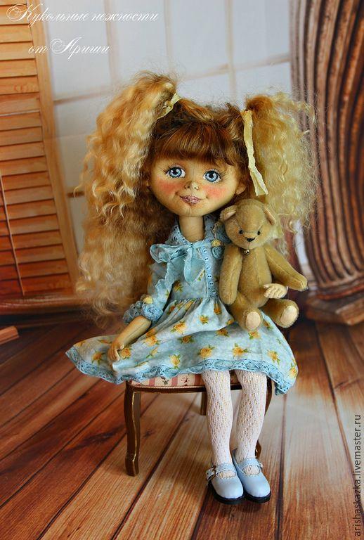 Купить Даша . Кукла авторская . Кукла ручной работы . Кукла текстильная - бирюзовый, голубой, желтый:
