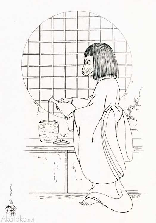"""Dog Faced Servant Fills Water Jug with Dark Line of Sake"" underdrawing水差に濃線の酒をしたたらせる狗面の召使Originals now available by inquiry!from Grass Labyrinthby Takato Yamamoto"