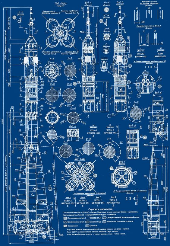 Lucienballard Blueprint Of A Russian Soyuz Rocket Via The Khool Dibujo Pinterest